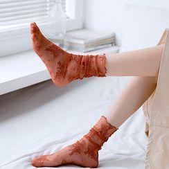 MEIA - Set of 2: Floral Mesh Socks