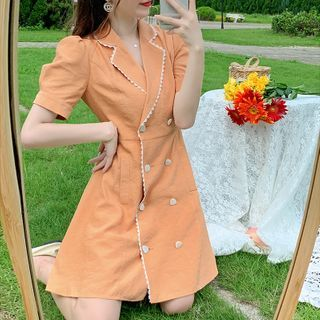 Dhan Dhan - Short-Sleeve Double-Breasted Mini Dress