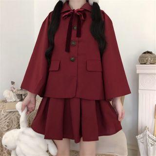 AKANYA - Sleeveless Mini A-Line Dress / Single-Breasted Jacket