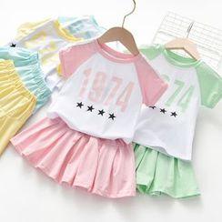 Shaneebabe - Kids Set: Short-Sleeve Number Raglan T-Shirt + A-Line Mini Skirt