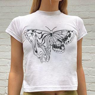 Sosana - Short Sleeve Butterfly Print Crop T-Shirt
