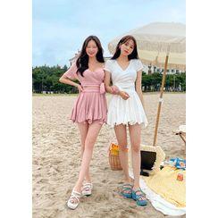 chuu - Wrap Top & Godet Miniskirt Matching Set