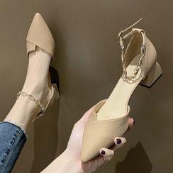 TINKI - Pointy Block Heel Chain Strap Sandals