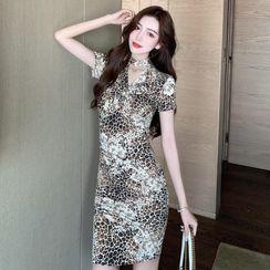 Edifil - Short-Sleeve Leopard Print Mini Dress