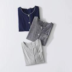 Rabenda - 情侶款睡衣套裝: 長袖上衣 + 長褲