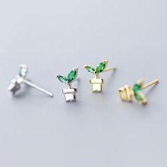 A'ROCH - 925纯银水钻盆栽耳环