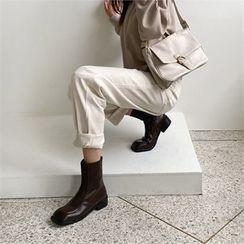 MONOBARBI - Square-Toe Seam-Trim Short Boots