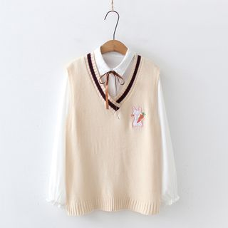 PANDAGO(パンダゴー) - Bow Shirt / Rabbit Embroidered Knit Sweater Vest