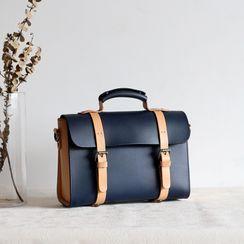 Mango Fish - Two-Tone Genuine Leather Satchel Bag