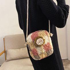 Faneur - Lion Applique Fleece Crossbody Bag