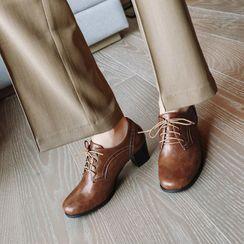 幸福鞋坊 - 粗跟牛津鞋