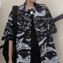 Shineon Studio - Elbow-Sleeve Shark Print Shirt