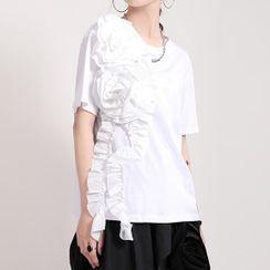 Ultra Modern - Short-Sleeve Floral Ruffled T-Shirt