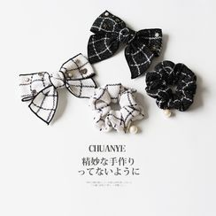 Kawano(カワノ) - Faux Pearl Plaid Bow Hair Tie / Hair Clip