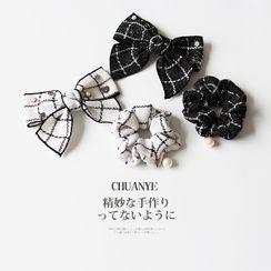 Kawano - 仿珍珠格子蝴蝶结发圈 / 发夹