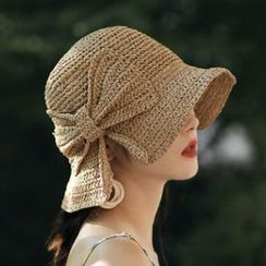FROME - Kids Bow-accent Straw Bucket Hat