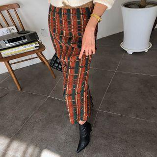 DABAGIRL - Plaid Knit H-Line Maxi Skirt