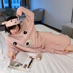 Houbaus - Pajama Set: Long-Sleeve Bear Knit Sleep Dress + Eye Mask