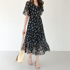 WITH IPUN - Flutter-Sleeve Floral Long Chiffon Dress