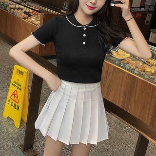 Robynn - Short-Sleeve Polo Shirt / Pleated Skirt
