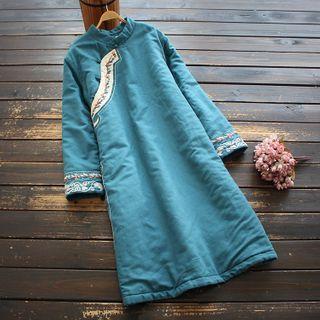 YOYO - Long-Sleeve Mandarin Collar Midi Dress