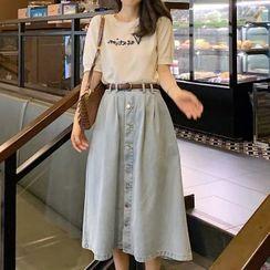 Apotheosis - Short-Sleeve Lettering Print T-Shirt / Washed Denim Midi A-Line Skirt / Set