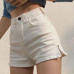 Yako - Side-Zip Denim Shorts
