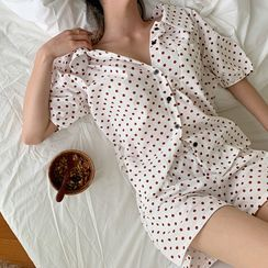 NANING9 - Polka-Dot Shirt & Shorts Pajama Set