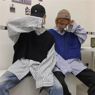 Balak - Couple Matching Striped Shirt / Knit Vest