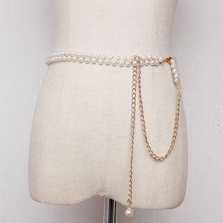 YUMINA - Faux-Pearl Waist Chain Belt