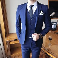 Hawoo(ハウー) - Suit Set: Blazer + Dress Vest + Dress Pants