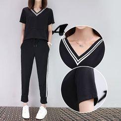 Ashlee - Set: V-Neck Short-Sleeve T-Shirt + Contrast Trim Sweatpants