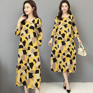 RAIN DEER - Print Round-Neck 3/4-Sleeve Dress