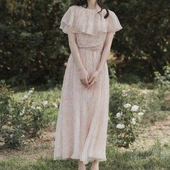 Meatacci - Short-Sleeve Floral Ruffled A-Line Maxi Dress