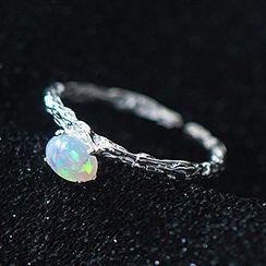 A'ROCH - 蛋白石纯银开口戒指