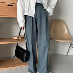 MERONGSHOP - Pintuck-Front Dress Pants