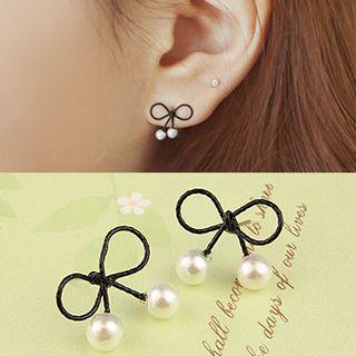 Coolgirl - Faux Pearl Ribbon Earrings