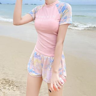 ASUMM - Set: Short-Sleeve Lettering Swim Top + Shorts