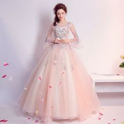 Caprice - Flower Applique Bell-Sleeve Ball Gown