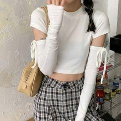 Gilmort(ギルモート) - Set: Short-Sleeve Plain T-Shirt + Fingerless Gloves