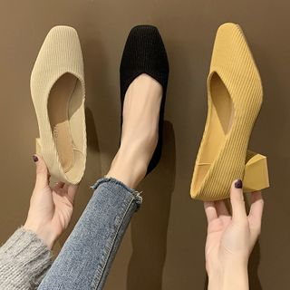 Novice(ノバイス) - Fabric Block Heel Pumps