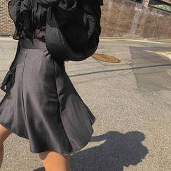 LIPHOP - Flared Satin Skirt