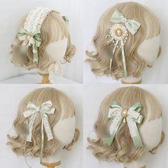 Elfis - 蕾絲蝴蝶結髪夾 / 蘿莉塔無邊軟帽 / 髪箍 / 貼脖項鏈