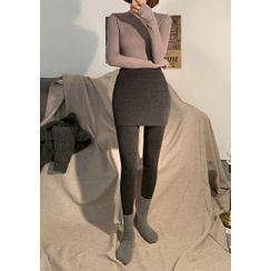 chuu - Mini Pencil Skirt Overlay Leggings