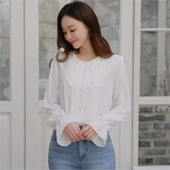 Styleberry - Lace-Collar Pleated Blouse