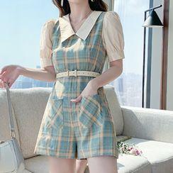 Aurora - 短袖格子連衣短褲