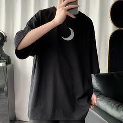 KOKAY - Moon Print Elbow-Sleeve T-Shirt