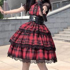 AKANYA - Balloon-Sleeve Plaid A-Line Layered Dress / Body Harness Belt
