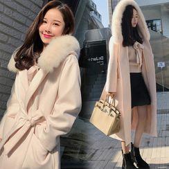 Apotheosis - Open Front Fluffy Trim Hoode Coat