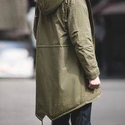 Maden - Hooded Long Faux Shearling Coat